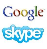 les logos de skype et de google